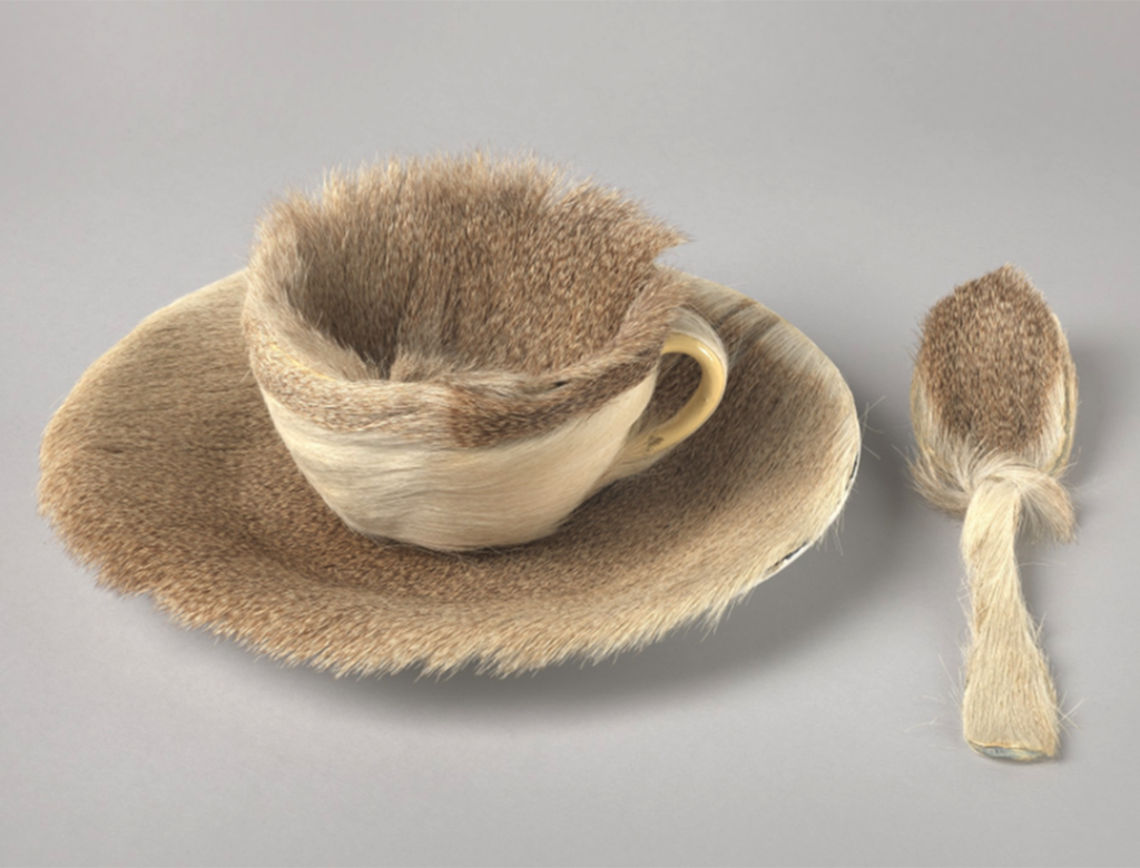 """Image of Meret Oppenheim's """"Object"""" *1936). A teacup and spoon covered in fur."""