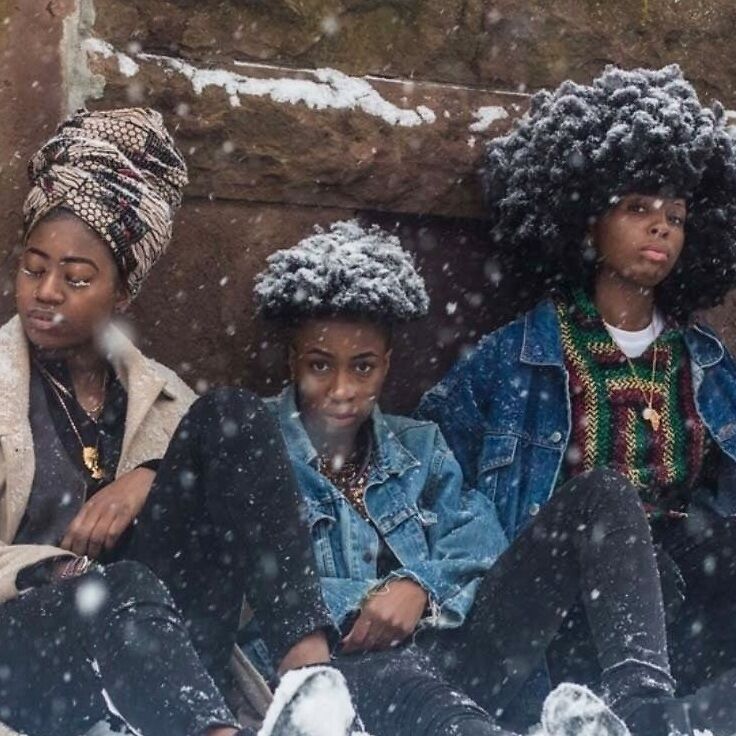 """Detail from """"4 Queer African Women in the Snow,"""" from Limitless Africans"""